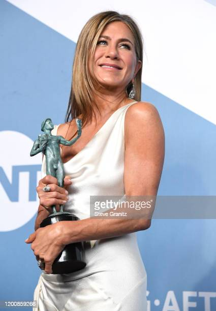 Jennifer Aniston poses at the 26th Annual Screen ActorsGuild Awards at The Shrine Auditorium on January 19 2020 in Los Angeles California