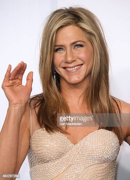 Jennifer Aniston poses in the press room at the 87th Annual Academy Awards at Hollywood Highland Center on February 22 2015 in Los Angeles California