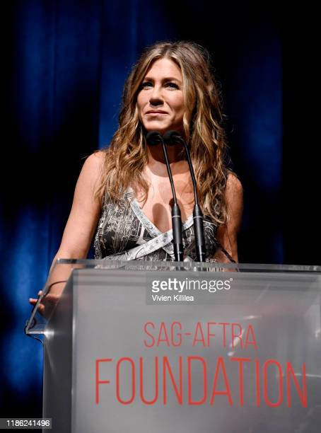 Jennifer Aniston receives the 'Artists Inspiration Award' onstage during SAGAFTRA Foundation's 4th Annual Patron of the Artists Awards at Wallis...