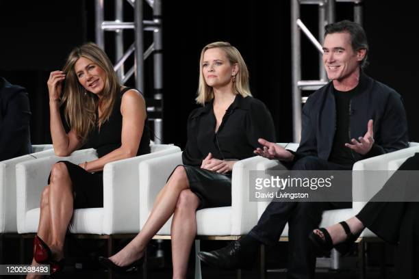 Jennifer Aniston Reese Witherspoon and Billy Crudup of The Morning Show speak onstage during the Apple TV segment of the 2020 Winter TCA Tour at The...