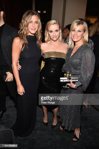 Jennifer Aniston Reese Witherspoon and Gretchen Carlson attend Apple TV's The Morning Show World Premiere After Party on October 28 2019 in New York...