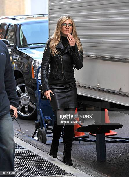 Jennifer Aniston seen on location for Wanderlust on the streets of Manhattan on November 18 2010 in New York City