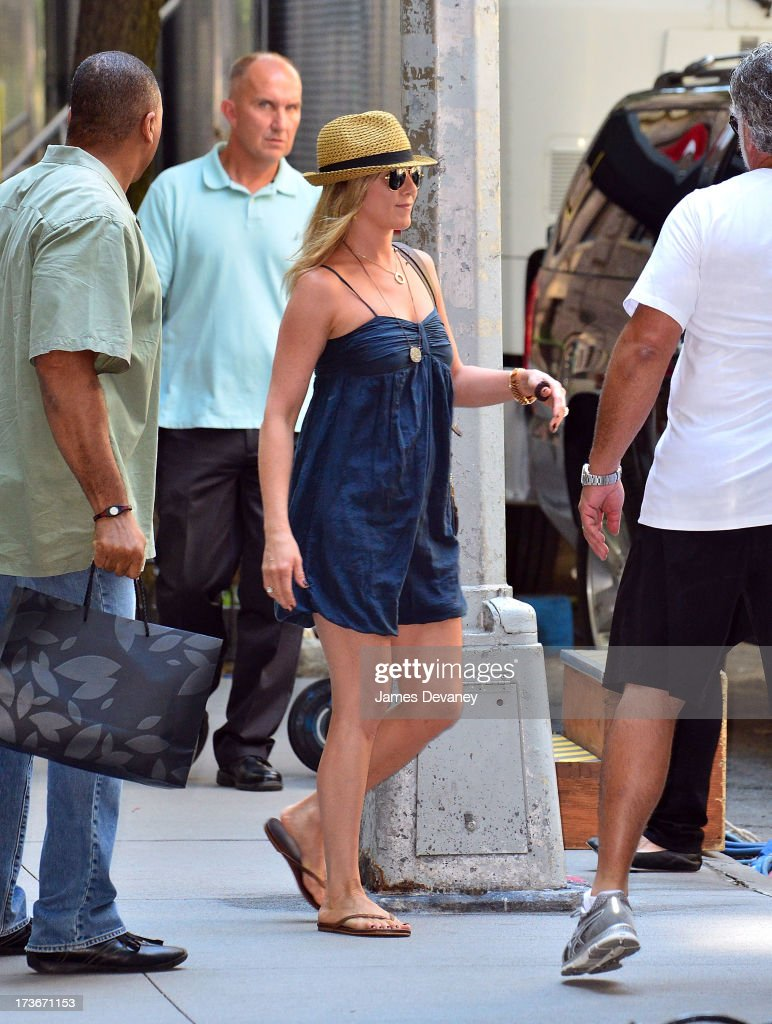 Jennifer Aniston seen on the set of 'Squirrels to the Nuts' on July 16, 2013 in New York City.