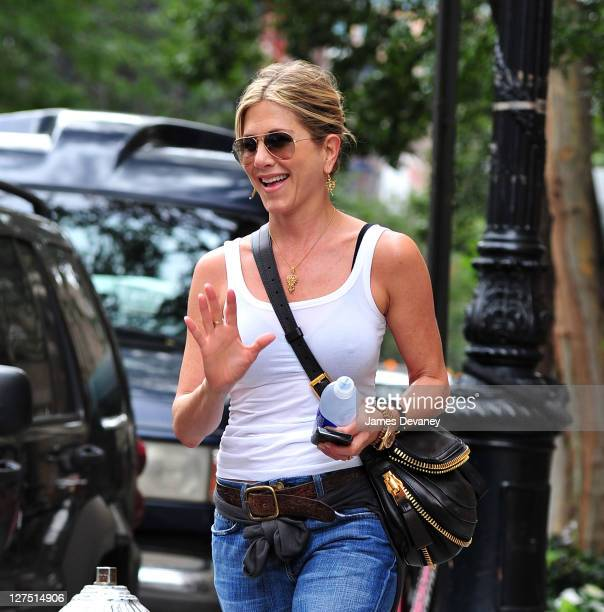 Jennifer Aniston seen walking in the West Village on September 28, 2011 in New York City.