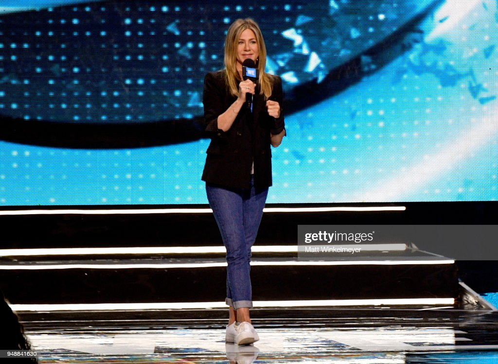 Jennifer Aniston speaks onstage at WE Day California at The Forum on April 19, 2018 in Inglewood, California.