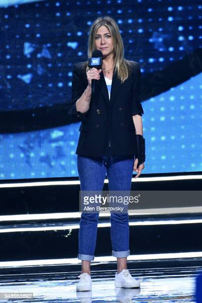 Jennifer Aniston speaks onstage at WE Day California at The Forum on April 19 2018 in Inglewood California