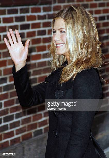 Jennifer Aniston visits Late Show With David Letterman at the Ed Sullivan Theater on March 15 2010 in New York City