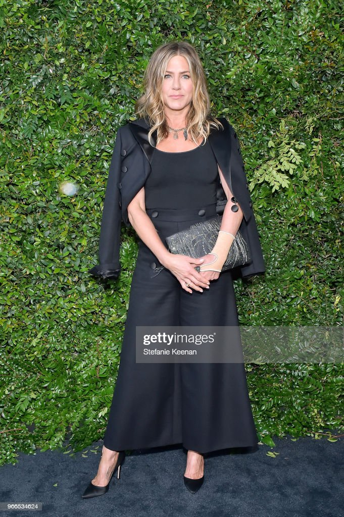 Jennifer Aniston, wearing Chanel, attends Chanel Dinner Celebrating our Majestic Oceans, A Benefit for NRDC at Private Residence on June 2, 2018 in Malibu, California.