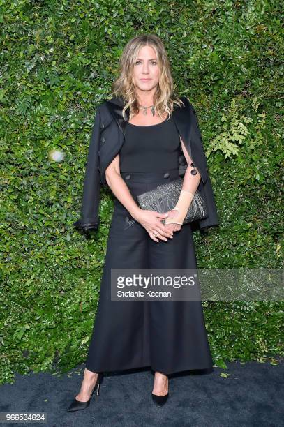 Jennifer Aniston wearing Chanel attends Chanel Dinner Celebrating our Majestic Oceans A Benefit for NRDC at Private Residence on June 2 2018 in...