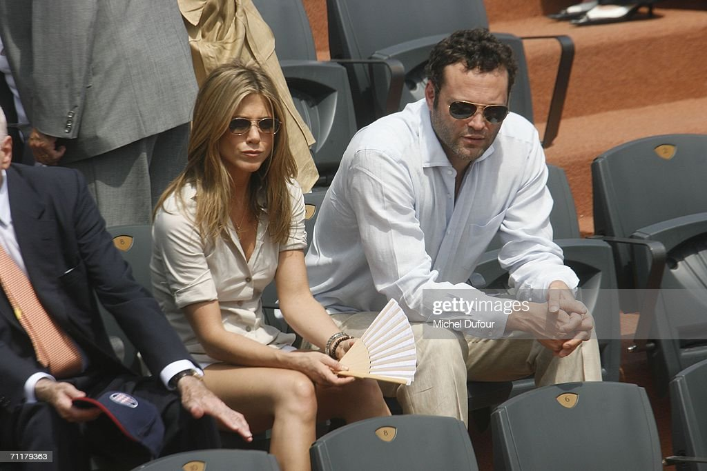 Jennifer Aniston with Vince Vaughn at the Men's Single match between Roger Federer and Rafael Nadal during the 2006 French Open Tournament at the Philippe Chatier stadium on June 11, 2006 in Paris, France.