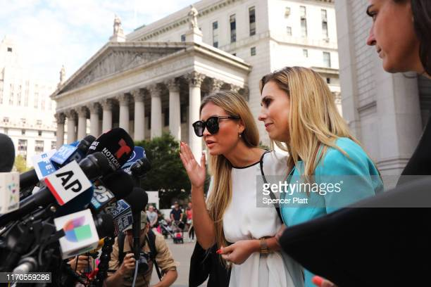 Jennifer Araoz claims that Jeffrey Epstein raped her in his New York townhouse in 2002 when she was only 14 speaks to the media with her lawyer after...