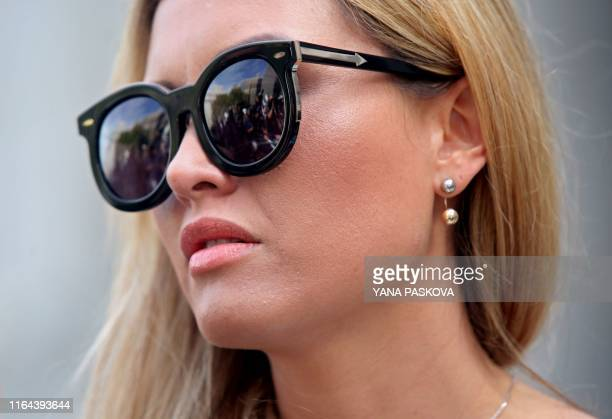 Jennifer Araoz one of deceased financier Jeffrey Epstein's alleged victims speaks to the press outside the US Federal Court on August 27 2019 in New...