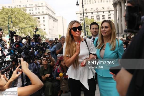Jennifer Araoz who claims that Jeffrey Epstein raped her in his New York townhouse in 2002 when she was only 14 speaks to the media with her lawyer...