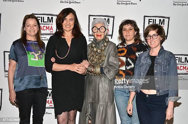 Jennifer Ash Rudick Madeleine Brand Iris Apfel Rebekah Maysles and Laura Coxson attend the Film Independent at LACMA Screening and QA of Iris at Bing...