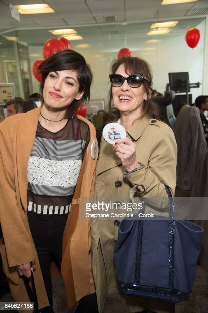 Jennifer Ayache and her mother Chantal Lauby attend the Aurel BGC Charity Benefit Day 2017 on September 11 2017 in Paris France