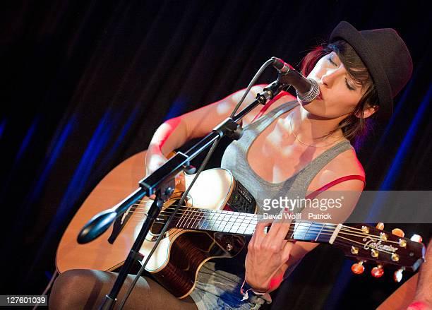 Jennifer Ayache from Superbus performs at Cafe 114 for Fender Jaguar Kurt Cobain Guitar launch on September 29 2011 in Paris France