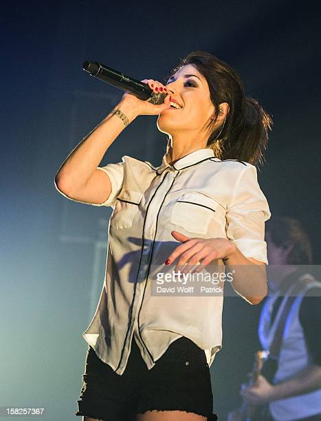 Jennifer Ayache from Superbus performs at L'Olympia on December 11 2012 in Paris France