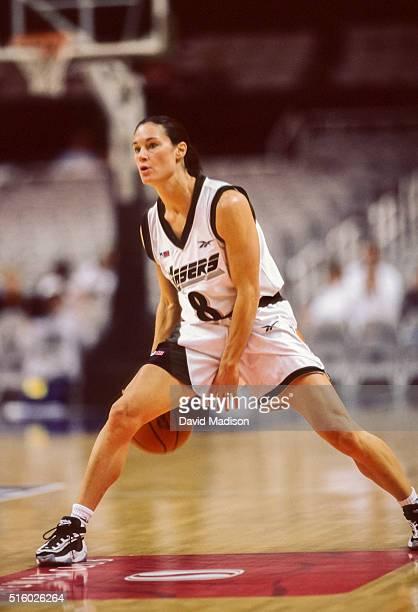 Jennifer Azzi of the San Jose Lasers plays in an American Basketball League game in 1997 at the San Jose Arena in San Jose California