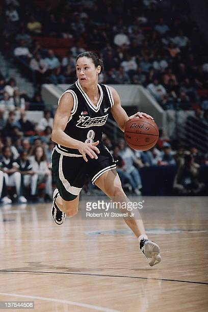 Jennifer Azzi of the San Jose Lazers of the American Basketball League heads upcourt in a game against the New England Blizzard Hartford CT 1997
