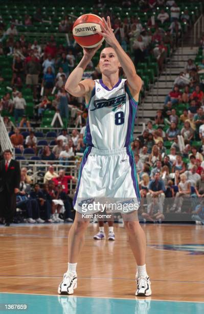 Jennifer Azzi of the Utah Starzz shoots a free throw during Game one of the Western Conference Semifinals during the 2002 WNBA Playoffs against the...