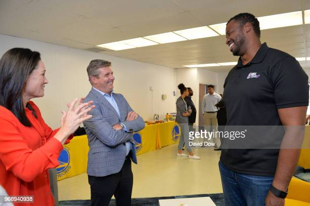 Jennifer Azzi Rick Welts and Jason Collins talk during the 2018 NBA Finals Legacy Project NBA Cares on June 01 2018 at the Boys Girls Club of San...