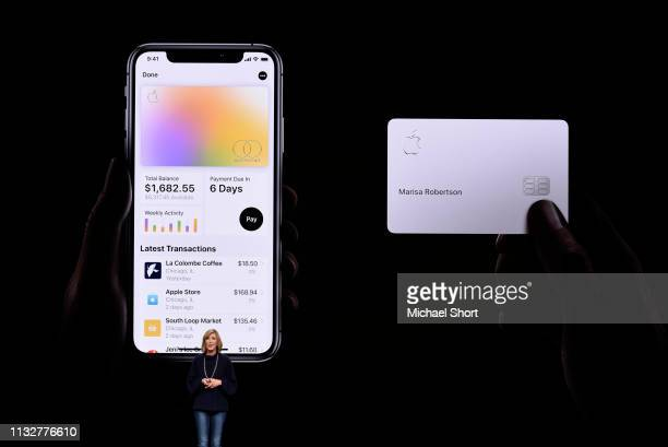 Jennifer Bailey vice president of Apple Pay speaks during an Apple product launch event at the Steve Jobs Theater at Apple Park on March 25 2019 in...