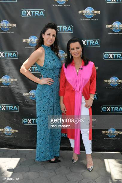 Jennifer Bartels and Kyle Richards visit Extra at Universal Studios Hollywood on June 14 2018 in Universal City California