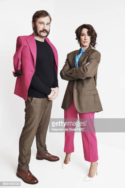 Jennifer Beals and Clive Standen of Taken pose for a photo during NBCUniversal Upfront Events Season 2017 Portraits Session at Ritz Carlton Hotel on...