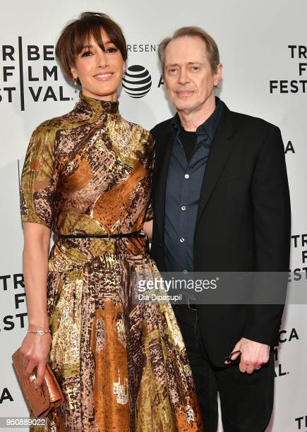 Jennifer Beals and Steve Buscemi attend the screening of In The Soup during the 2018 Tribeca Film Festival at SVA Theatre on April 24 2018 in New...