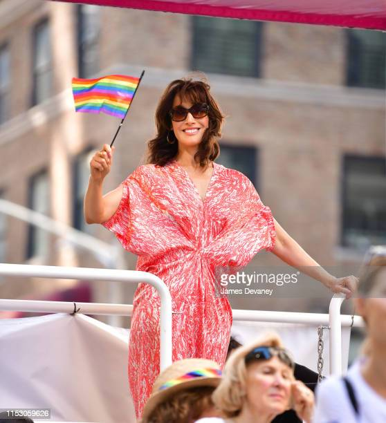Jennifer Beals attends Pride March WorldPride NYC 2019 on June 30 2019 in New York City