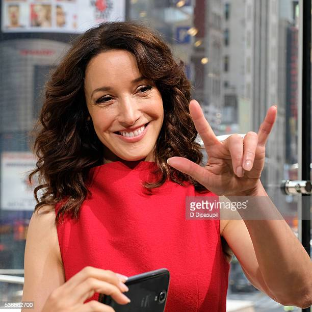 Jennifer Beals visits Extra at their New York studios at HM in Times Square on June 1 2016 in New York City