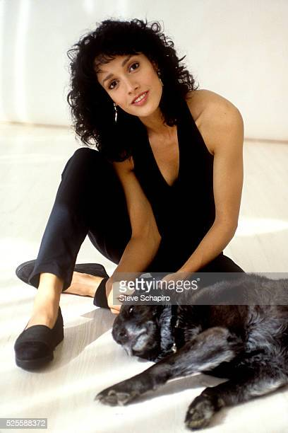 Jennifer Beals with a dog