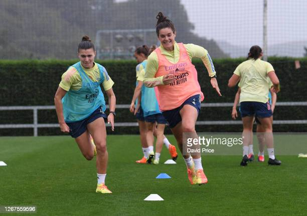 Jennifer Beattie and Steph Catley of Arsenal during the Arsenal Women's training session on August 21, 2020 in Zubieta, Spain.