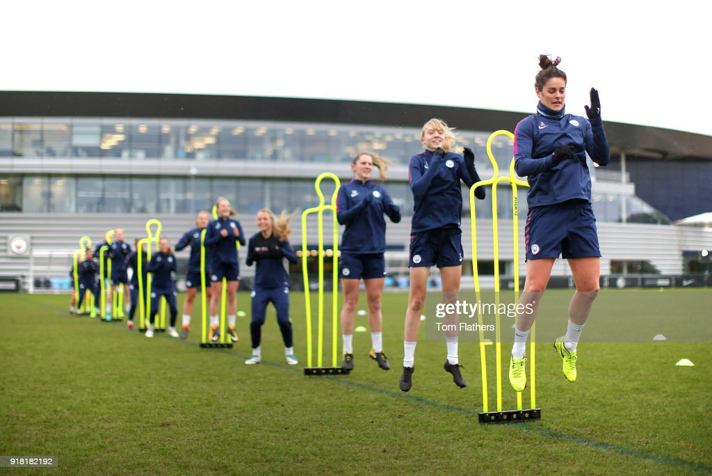 Jennifer Beattie and teammates during training at Manchester City Football Academy on February 14, 2018 in Manchester, England.