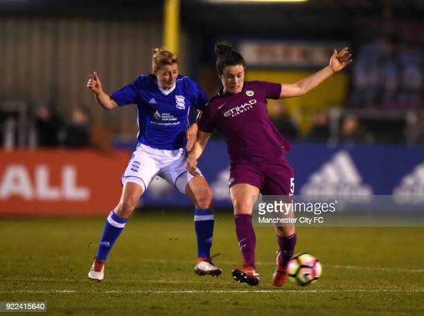 Jennifer Beattie of Manchester City Women is tackled by Ellen White of Birmingham City Ladies during the WSL match between Birmingham City Ladies and...