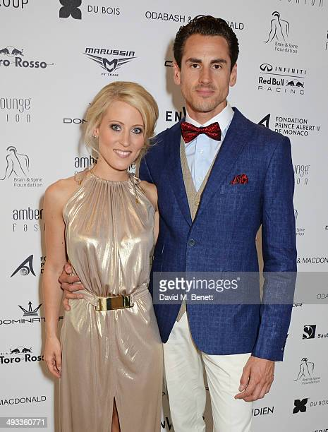 Jennifer Becks and F1 Driver Adrian Sutil attend the Amber Lounge 2014 Gala at Le Meridien Beach Plaza Hotel on May 23 2014 in Monaco Monaco
