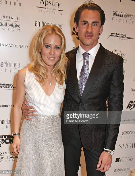 Jennifer Becks and Racing Driver Adrian Sutil attend the Amber Lounge 2015 Gala at Le Meridien Beach Plaza Hotel on May 22 2015 in Monaco Monaco