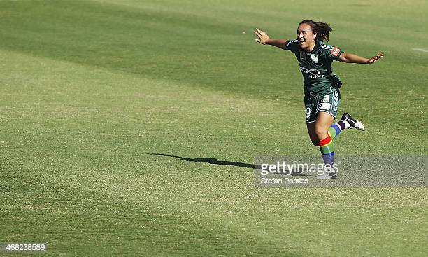 Jennifer Bisset of Canberra United reacts after scoring a goal during the round 11 WLeague match between Canberra United and the Newcastle Jets at...