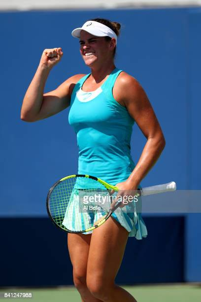 Jennifer Brady of the United States celebrates defeating Barbora Strycova of Czech Republic in their second round Women's Singles match on Day Four...