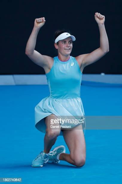 Jennifer Brady of the United States celebrates victory in her Women's Singles Semifinals match against Karolina Muchova of the Czech Republic during...