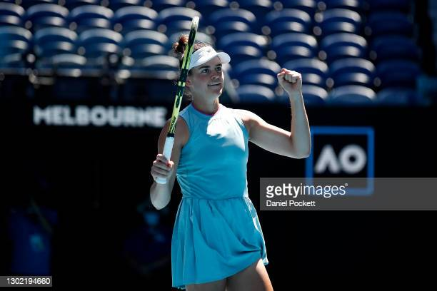 Jennifer Brady of the United States celebrates winning match point in her Women's Singles fourth round match against Donna Vekic of Croatia during...