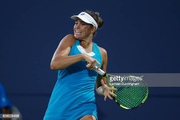 Jennifer Brady of the United States competes against Maria Sharapova of Russia during day 1 of the Bank of the West Classic at Stanford University...