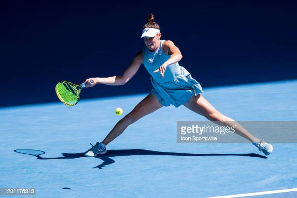 Jennifer Brady of the United States of America returns the ball during round 4 of the 2021 Australian Open on February 15 at Melbourne Park in...
