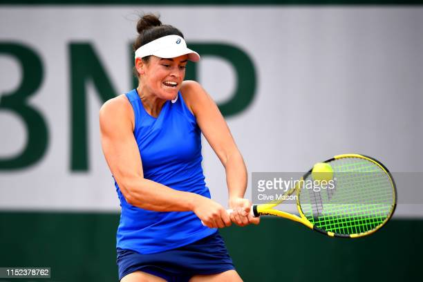 Jennifer Brady of The United States plays a backhand during her ladies singles second round match against Polona Hercog of Slovenia during Day four...