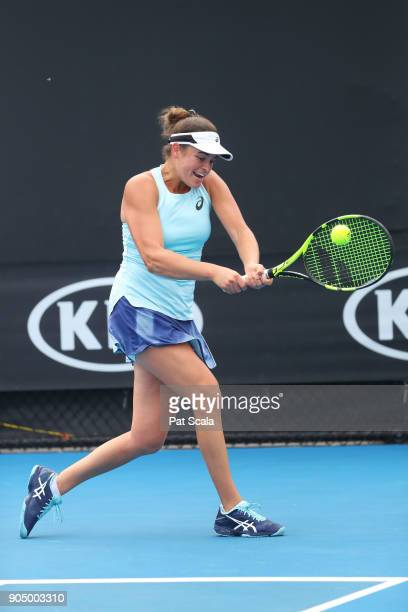 Jennifer Brady of the United States plays a backhand in her first round match against Magda Linette of Poland on day one of the 2018 Australian Open...