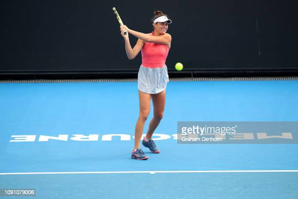 Jennifer Brady of the United States plays a backhand in her match against Karman Thandi of India during day one of Qualifying for the 2019 Australian...