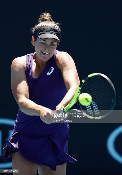 Jennifer Brady of the United States plays a backhand in her second round match against Heather Watson of Great Britain on day four of the 2017...
