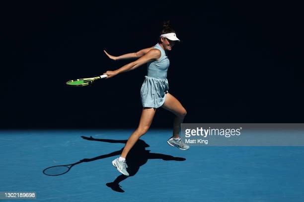 Jennifer Brady of the United States plays a backhand in her Women's Singles fourth round match against Donna Vekic of Croatia during day eight of the...