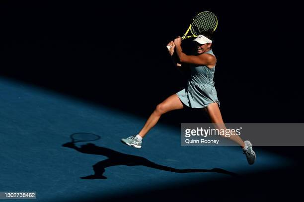 Jennifer Brady of the United States plays a backhand in her Women's Singles Semifinals match against Karolina Muchova of the Czech Republic during...
