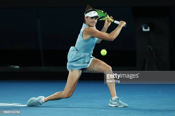Jennifer Brady of the United States plays a backhand in her Women's Singles Final match against Naomi Osaka of Japan during day 13 of the 2021...